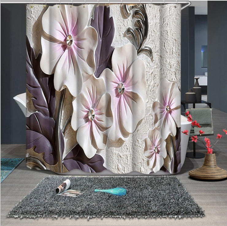 Flowers and Leaves Printed Shower Curtains