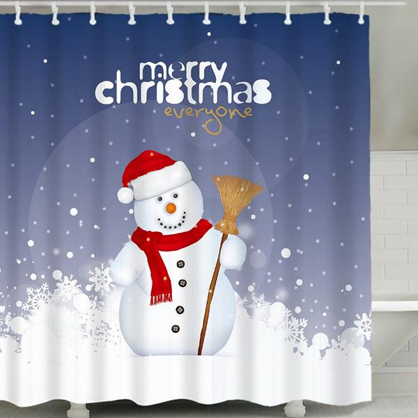 Christmas Snowman 3D Digital Printing Pattern Bathroom Curtain Mildew Waterproof Shower Curtain