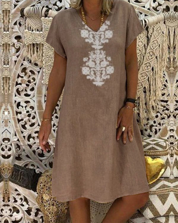Women Casual V Neck Short Sleeve Printed Plus Size Dress