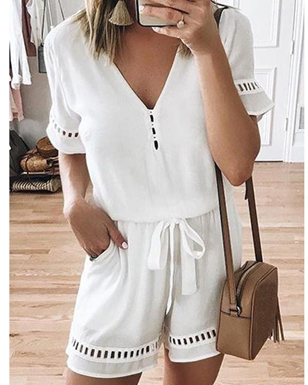 Plus Size V Neck Short Sleeve Jumpsuit