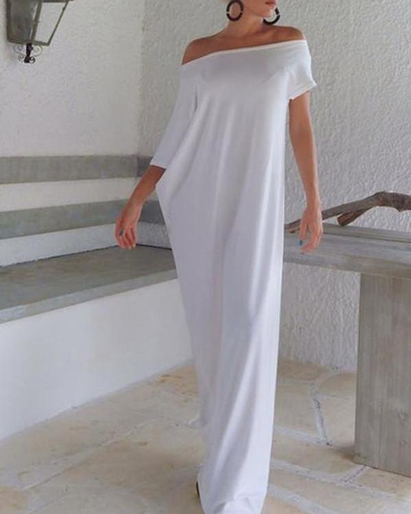 One Shoulder Plain Maxi Shift Dresses