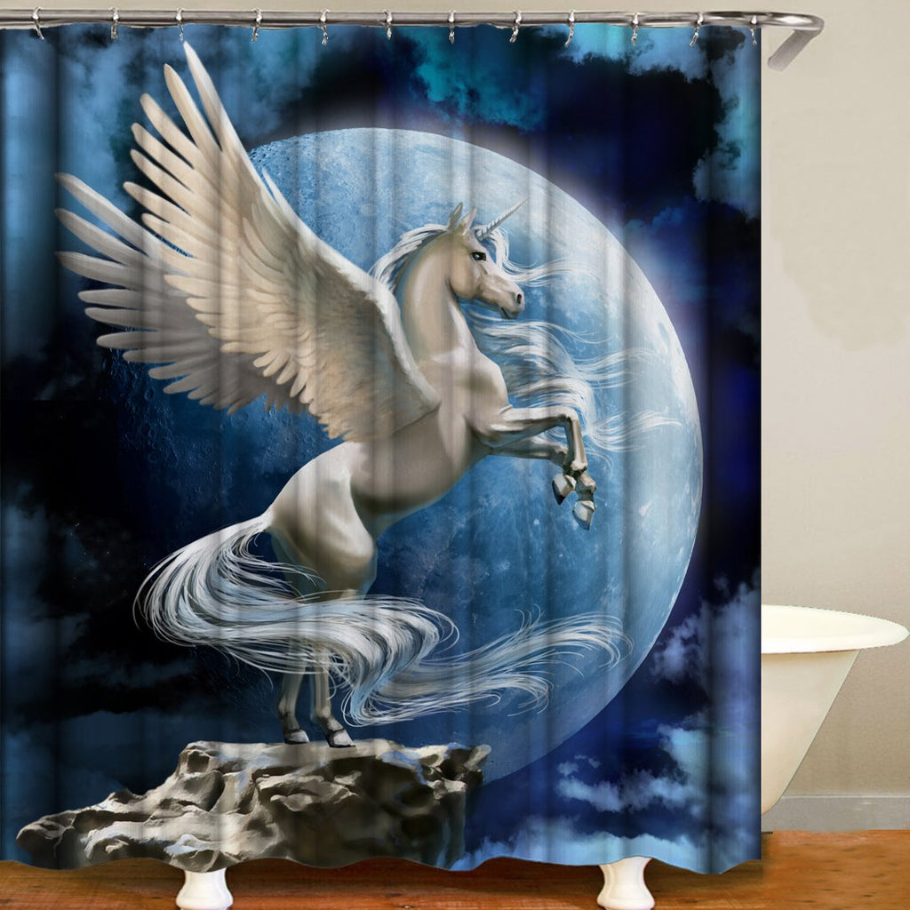 Magical Dragon Horse Series Digital Printing Pattern Bathroom Curtain Mildew Waterproof Shower Curtain