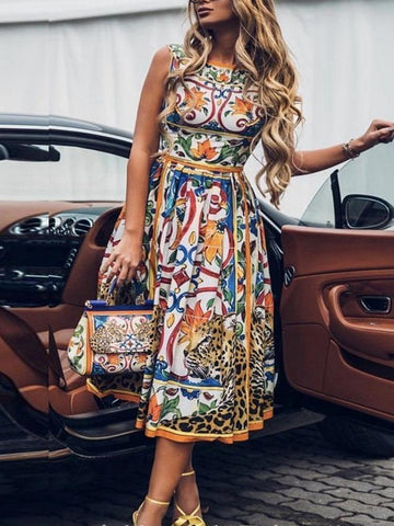 Plus Size Casual V Neck Short Sleeve Printed Dresses