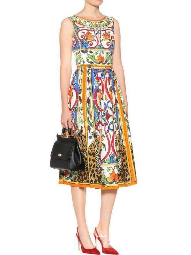 Sexy sleeveless vintage print crew neck midi dress