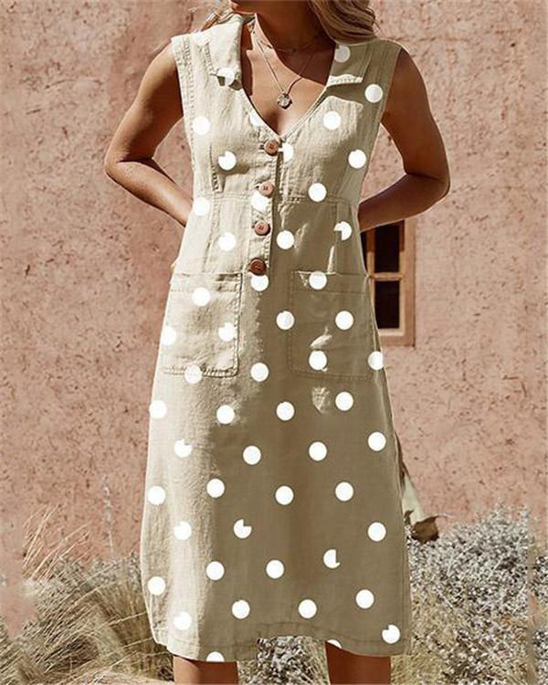 Plus Size Elegant Buttoned Down Polka Dot Pockets Dress