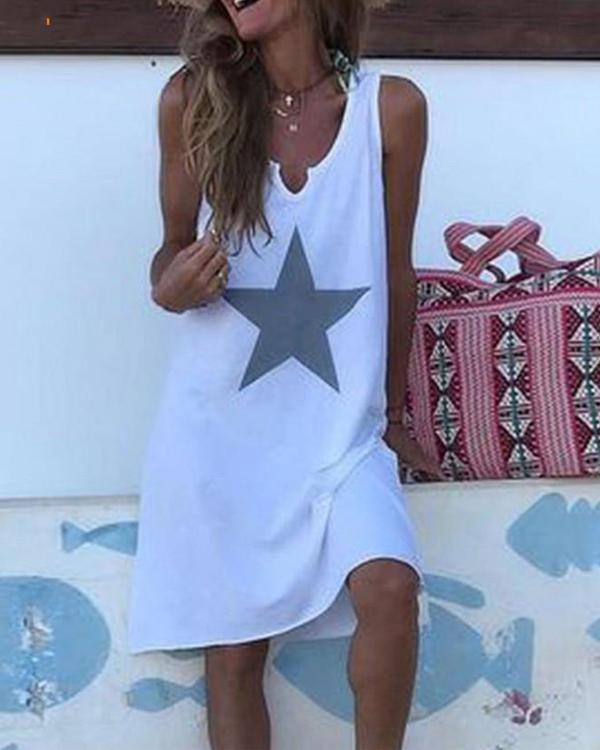 Summer Star Printed Vacation Crew Neck Sleeveless Dresses