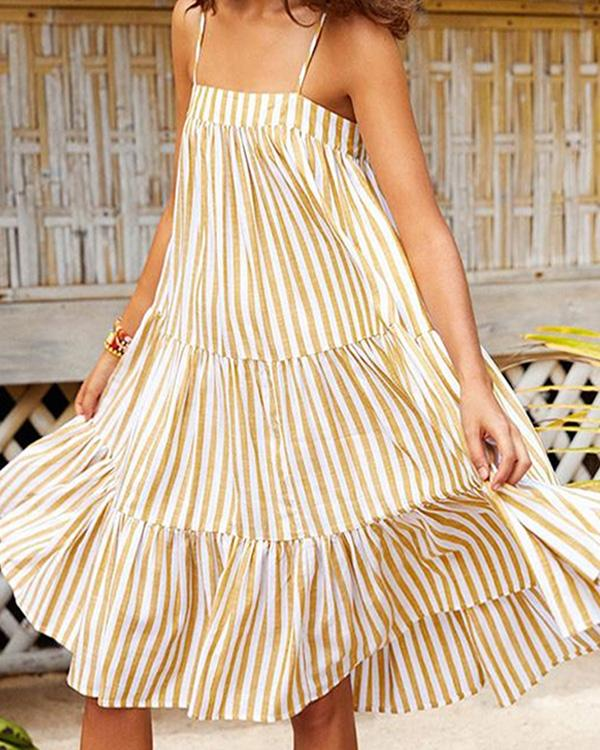 Women Casual Striped Sleeveless Dresses