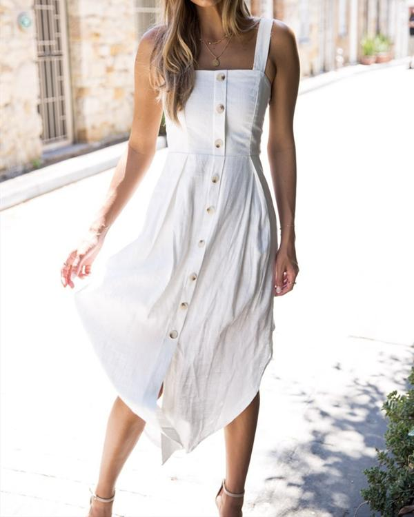 Women Casual Sleeveless Strapless Button Sling Dress