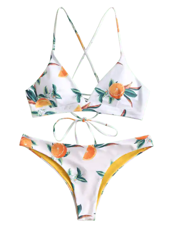 Orange Print Criss Cross Bikini Set