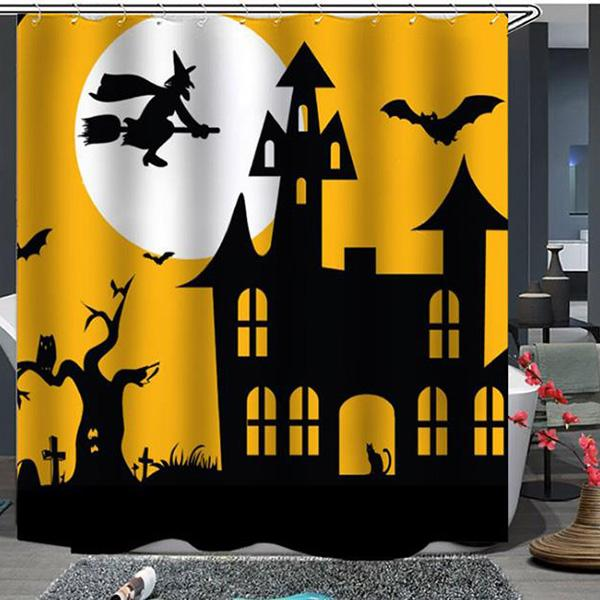 Halloween Funny Vampire Bat Skull Pattern Bathroom Curtain Mildew Waterproof Shower Curtain