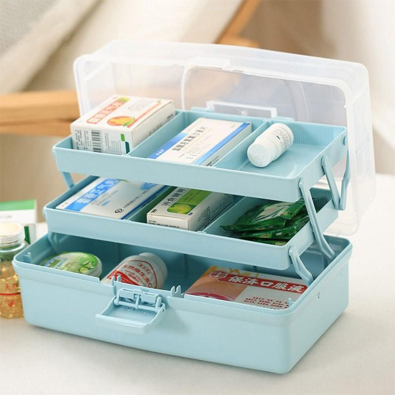 Portable 3 Layer Multifunctional Storage Box Pill Box Organizer