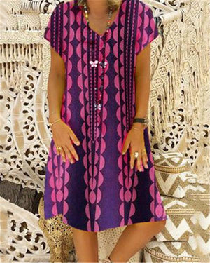 Fashion Women Summer  Printed Loose Dress