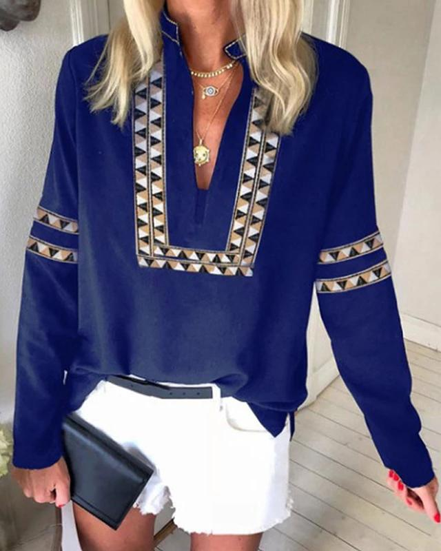 Boho Ethnic V Neck Long Sleeve Casual Women Go-Out Shirts & Tops