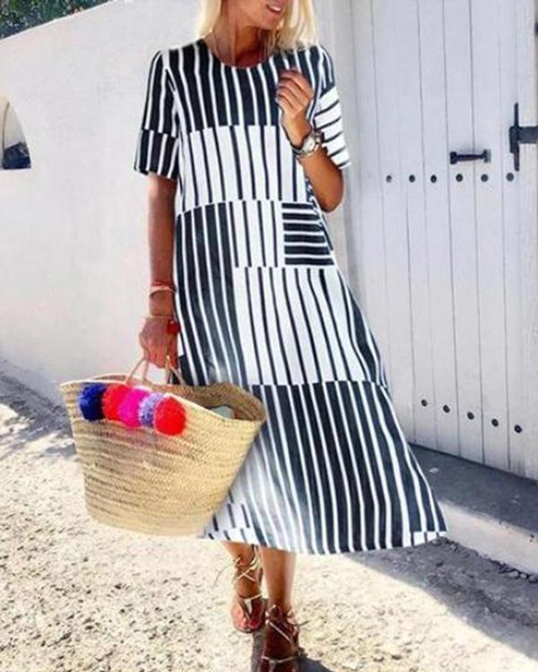 Women Black Striped Holiday A-Line Daily Pockets Maxi Dress