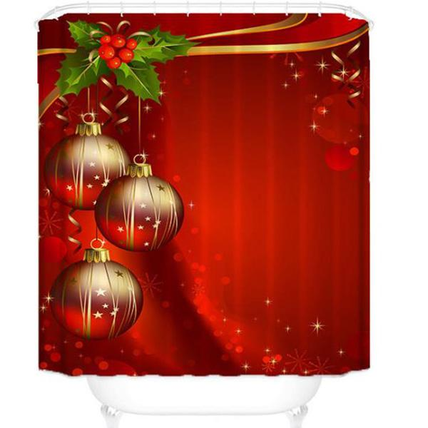 Christmas Tree Lantern Series Pattern Bathroom Curtain Mildew Waterproof Shower Curtain