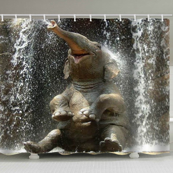 Elephant Bath Print Waterproof Bathroom Shower Curtain