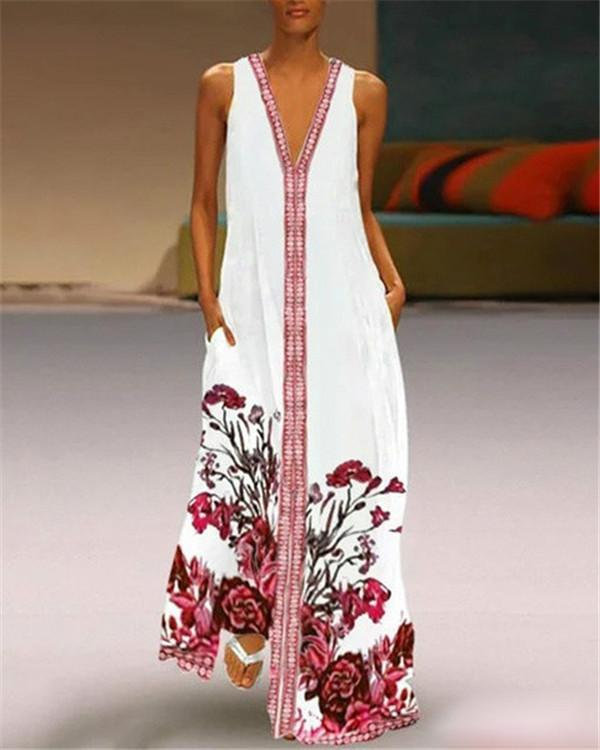 Vintage V Neck Daily Floral Printed Holiday Chic Maxi Dresses