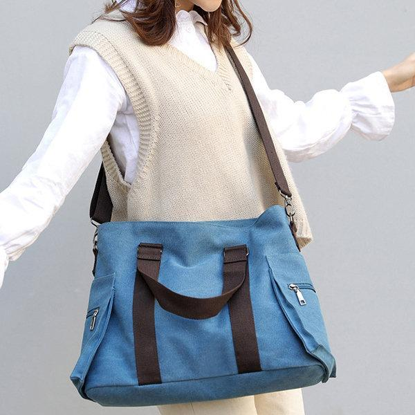 Canvas Large Capacity Patchwork Tote Bag Crossbody Bag