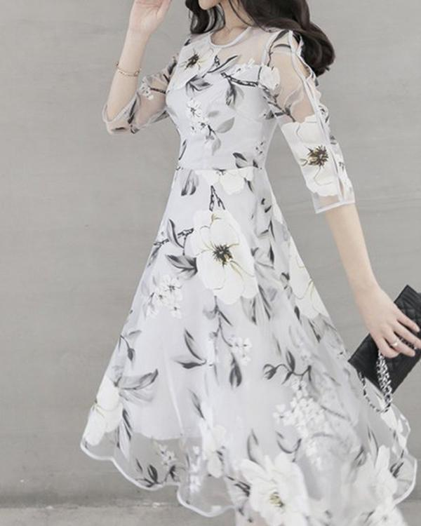 Women Fashion 3/4 Sleeve Crew Neck Floral Printed Dress