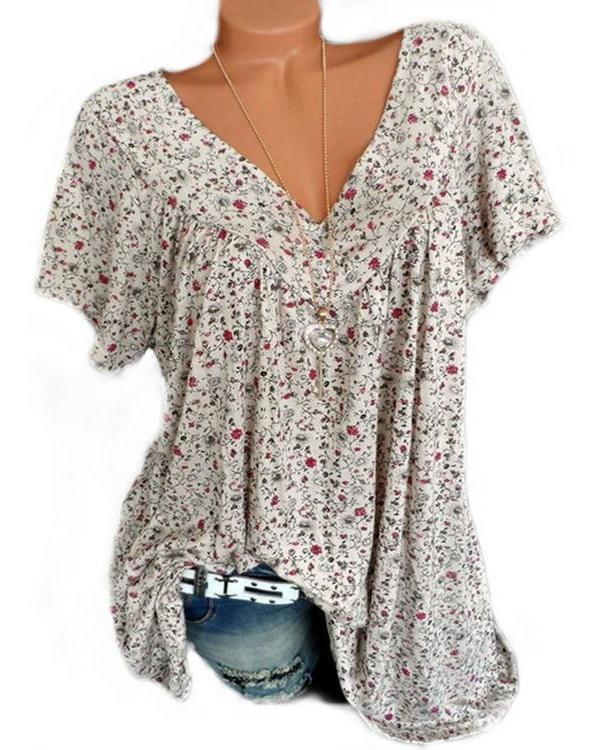 05730175bb Plus Size Women Fashion Blouse Casual Loose Floral Printed Tops