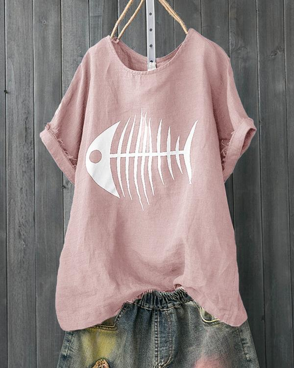Casual Short Sleeve Crew Neck Fish Bone Printed T-Shirts Tops