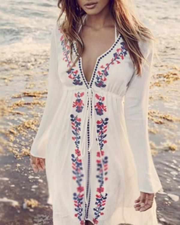 White Print Dress V Neck Going out Boho Floral Beach Dress