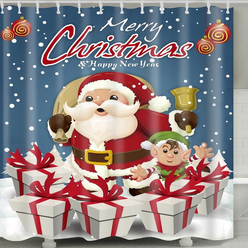 Santa Carriage Christmas Bell 3D Digital Printing Pattern Bathroom Curtain Mildew Waterproof Shower Curtain