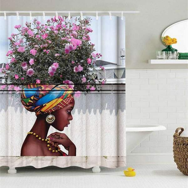 Creative Hair Afro Girl Shower Curtain 3D Bathroom Printing Water-Proof