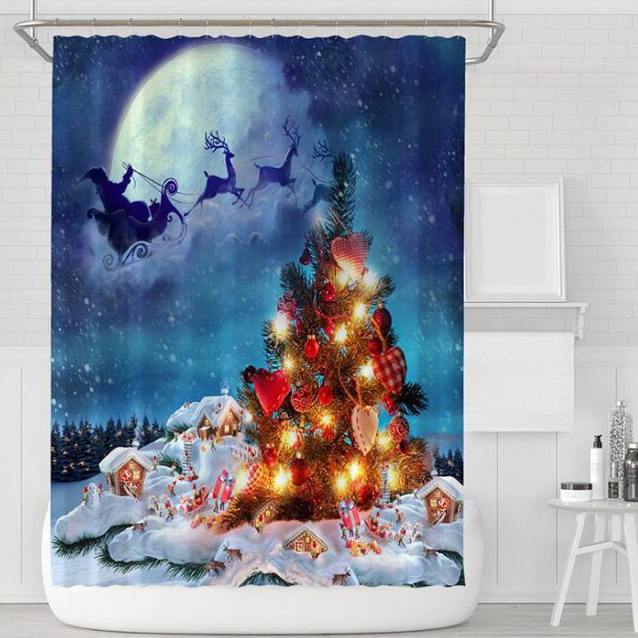 Christmas Series Pattern Bathroom Curtain Mildew Waterproof Shower Curtain for Home Decorations
