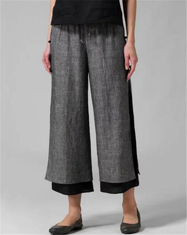 Cotton Pants Plus Size Casual Wide Leg Linen Pants