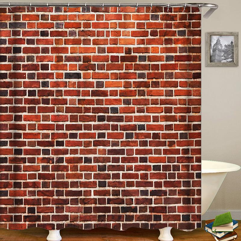 Wall Brick Digital Printing Pattern Bathroom Curtain Mildew Waterproof Shower Curtain