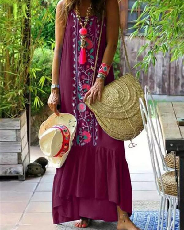 Plus Size Fashion Bohemian Sleeveless  Maxi Dresses