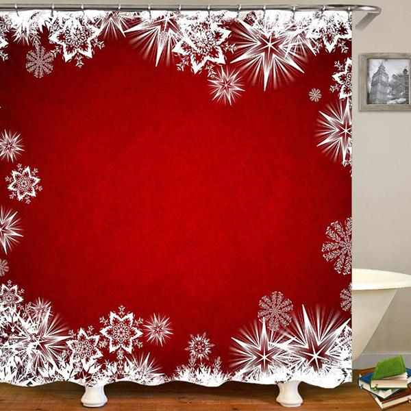 Merry Christmas happy Wedding Snowflake Snow View Digital Printing Pattern Bathroom Curtain Mildew Waterproof Shower Curtain