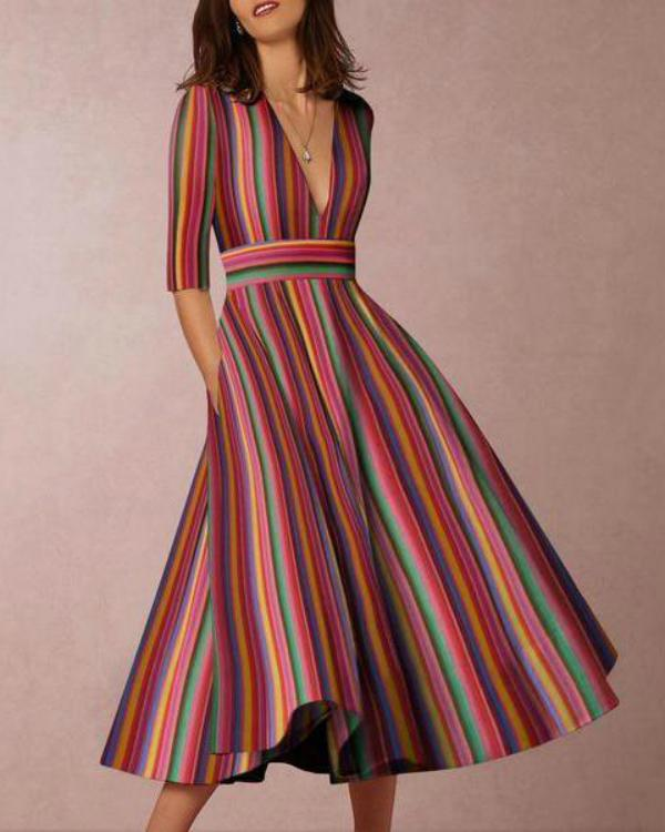 Multicolor Stripe Sexy Deep V-Neck Plus Size Maxi Dress