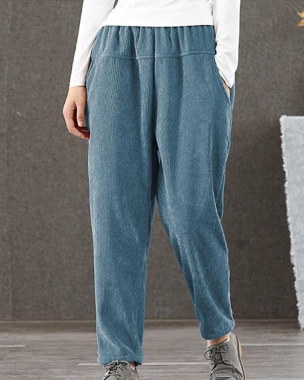 Women Casual Pure Color Elastic Waist Corduroy Pants