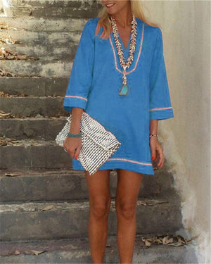 Bohemian Solid 3/4 Sleeve Casual Mini Dress
