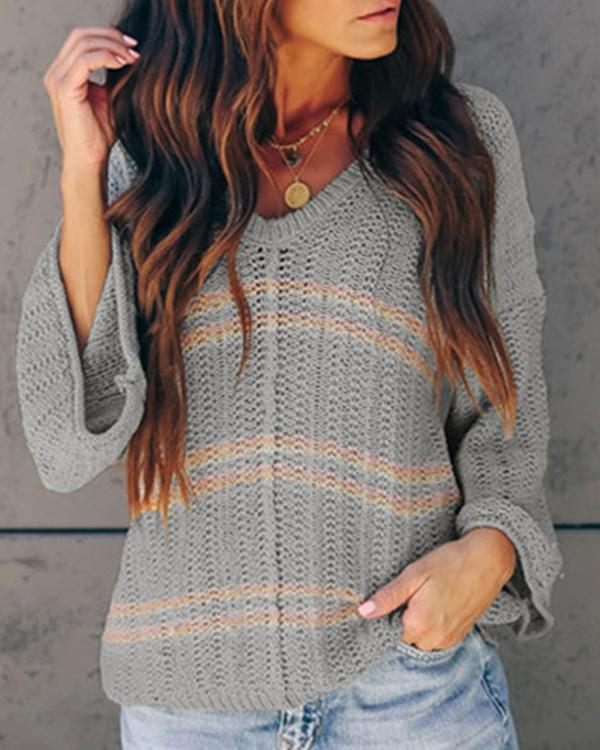 Casual Long Sleeve Striped V-Neck Blouses Tops