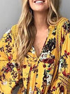 V neck Women Balloon Sleeve Paneled Floral Dress