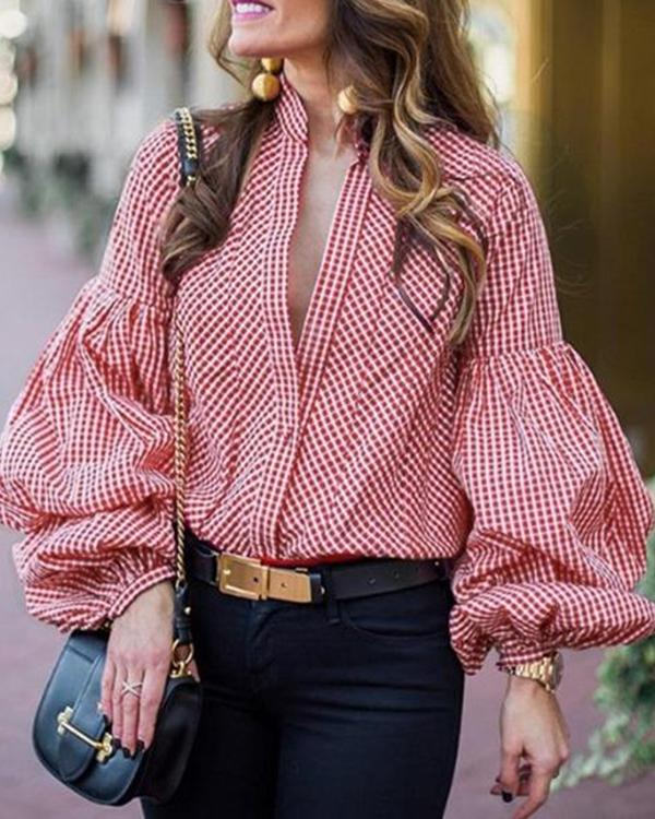 Band Collar Plaid Bishop Sleeve Blouses Top