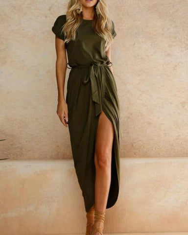 2019 Solid Color Deep V Neck Backless Maxi Dress