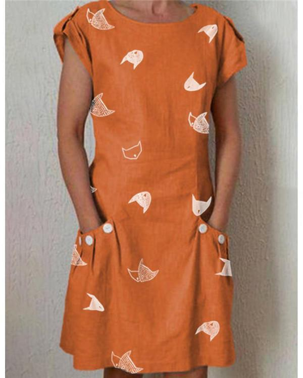 Fish Printed Shift Daily Casual Plain Dresses