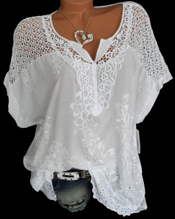Casual Lace V Neck Embroidered Short Sleeve Plus Size Blouses Tops