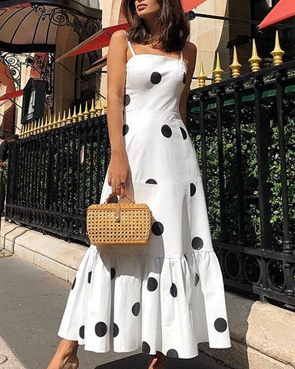 Sexy Breast-Wiping Polka Dot Suspended Dress