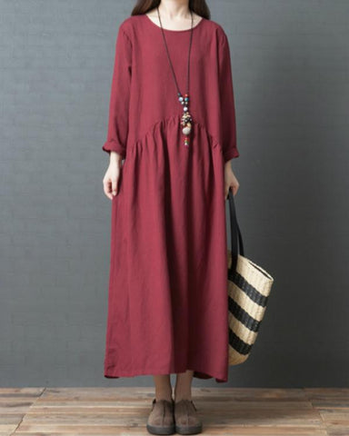 Summer Solid V Neck Long Sleeve Casual Dresses