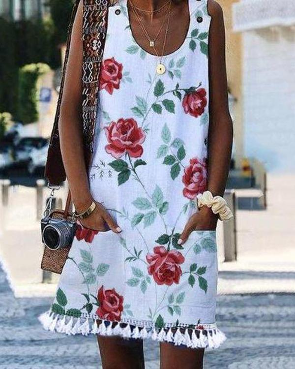 Fashion Flower Printed Sleeveless Tassel Dress