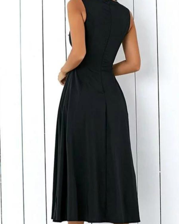 Black A-line Women Sleeveless Pockets Solid Summer Dress