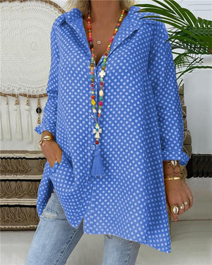 Plus Size Polka Dots Women Casual Shirts Daily Tops