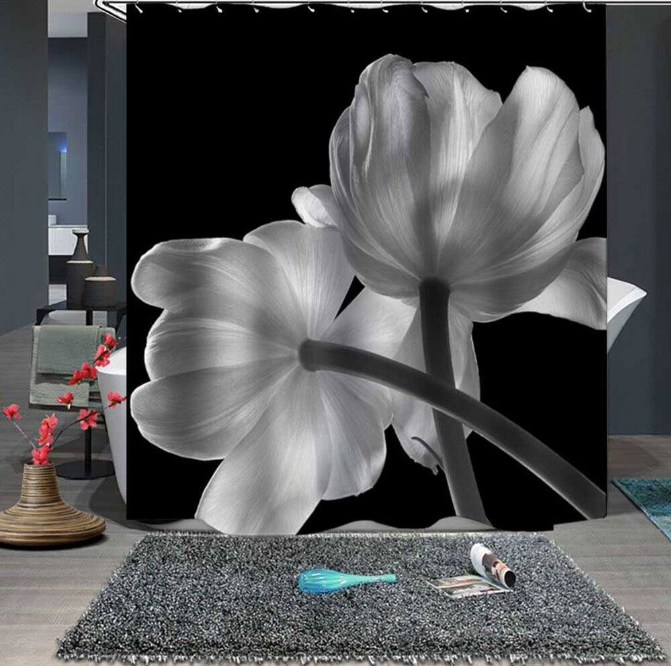 Flower Waterproof Fine Shower Curtain
