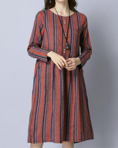 Women Daily Long Sleeve Cotton Linen Printed Abstract Casual Shirt Collar Dress