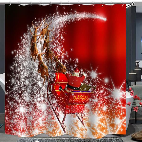 Series Christmas Print Pattern Bathroom Curtain Mildew Waterproof Shower Curtain
